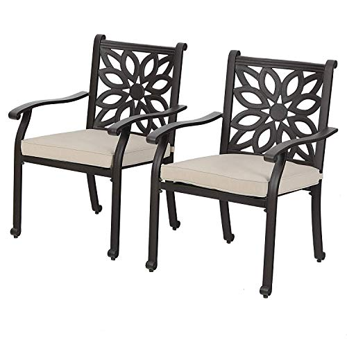 MFSTUDIO Outdoor Patio Extra Wide Armrest Cast Aluminum Dining Chairs with Cushion Set of 2 - Frosted Surface
