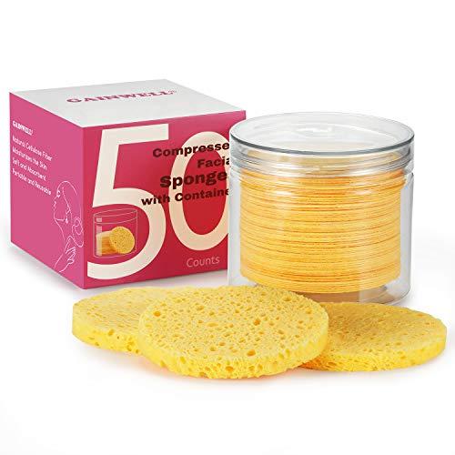 50 Stück Komprimierte Gesichtsschwämme, GAINWELL Zellulose Gesichtsschwämme mit Behälter