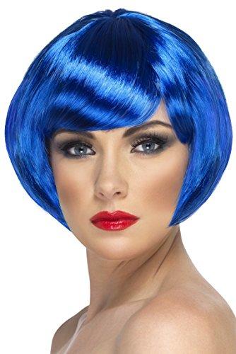 Smiffys Perruque bimbo, bleue, cheveux courts avec frange