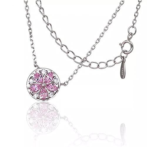 Collar con Colgante de Mujer Mujeres Pi Crystal Cherry Blossom Colgante Collar Cadena Aniversario Boda Compromiso joyería Regalos para Esposa Madre y Novia Regalo de cumpleaños
