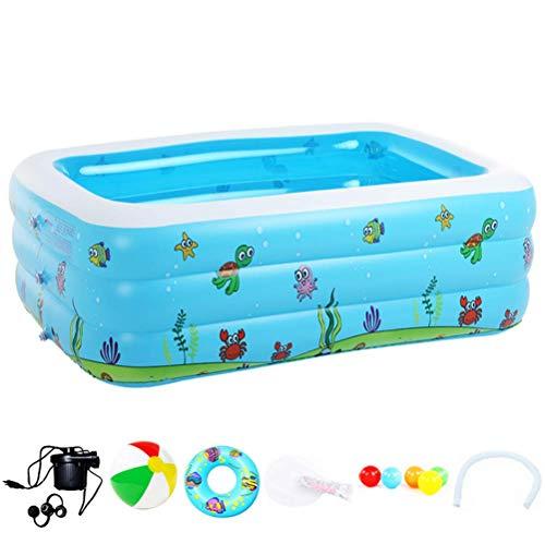 HAJKSDS Aufblasbares Pool Swimmingpool, Family Schwimmbecken Rechteckig Pool, Aufblasbare Badewanne Klappschwimmbad Für Kinder 196 * 143 * 60Cm