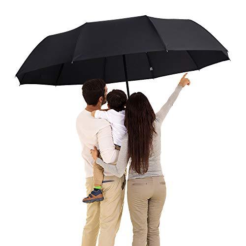 "DongSui Golf Umbrella 51"" Large Umbrella 10 Ribs Windproof Folding Umbrella with Teflon Coating Automatic Travel Umbrella for Women and Men"