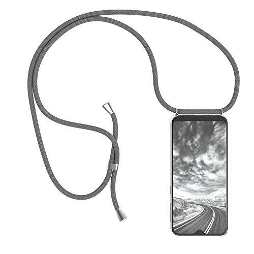 EAZY CASE Handykette kompatibel mit Samsung Galaxy A20e Handyhülle mit Umhängeband, Handykordel mit Schutzhülle, Silikonhülle, Hülle mit Band, Stylische Kette mit Hülle für Smartphone, Anthrazit