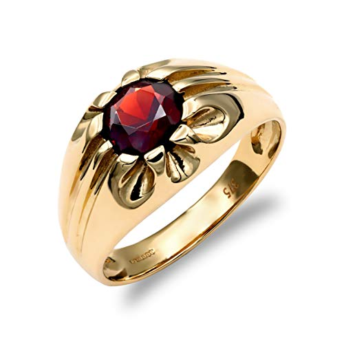 Jewelco London Men's Solid 9ct Yellow Gold Round Brilliant Garnet 10 Claw Solitaire Gypsy Ring, Size R