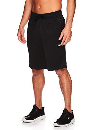 AND1 Herren Basketball Gym & Running Sweat Shorts mit elastischem Kordelzug Bund & Reißverschlusstaschen - Schwarz - Mittel