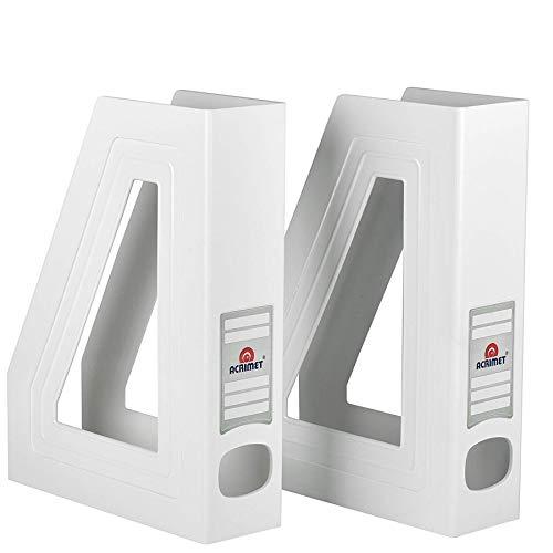 Acrimet Organizador de Revistas y Documentos Plastico (Revistero) (Color Blanco) (2 Unidades)