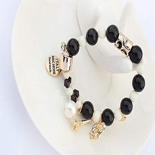 Pulsera Brazalete,Regalo De La Joyería,Arrival Fashion Wrap Cuff Charms Crystal Simulated Pearl Beads Hearts Elastic Force Bracelet for Women Jewelry