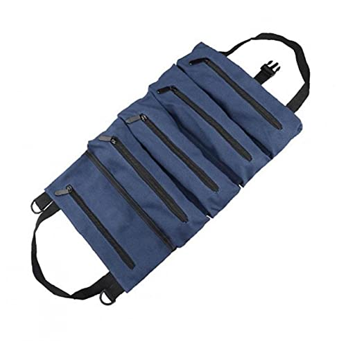 Roll Up Bolsa de herramientas Organizador Llave multiuso caja de la bolsa de almacenamiento de lona verde encerado de Altas Prestaciones con herramientas de mano de la cremallera BlueGeneral de uso