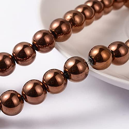 Cheriswelry 10 hebras 8 mm Hematita (no magnético) grano de hebra de cobre rojo hematita sintético redondo espaciadores de piedra para hacer joyas, alrededor de 53 piezas/hebra