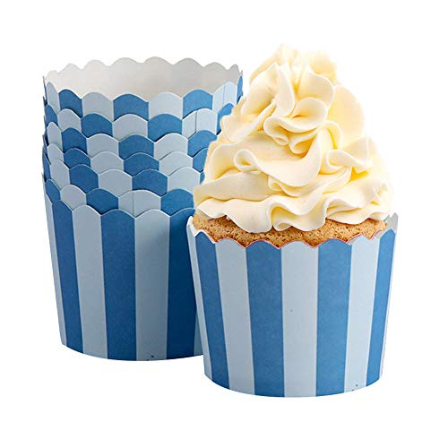 50 Pcs Premium Cupcake Paper Liners Cupcakes Papers Holiday/Parties/Wedding/Anniversary (Blue Bars)