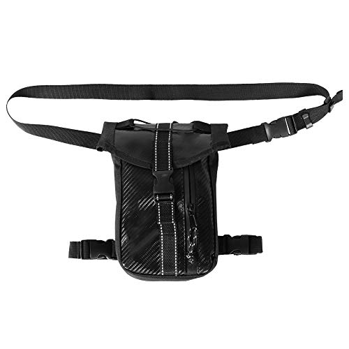 KIMISS estilo de fibra de carbono motocicleta bolsa de pierna de equitación bolsa bum bolsa bandolera motocicleta bolsa impermeable [cuero de la pu + revestimiento de PVC interior]