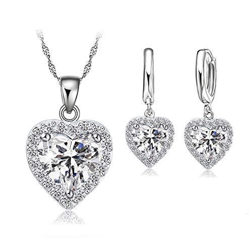 Crystalina Conjunto de Joyas Corazón de Plata 925 para Mujeres, Juego de Collar y Pendientes con Circonita Regalos Originales con Hermosa Caja de Regalo