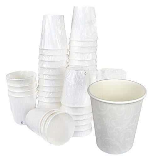 Lot de 100 gobelets en papier avec motif Damas, couleur blanche, 7 Oz (200 ml) emballés individuellement à usage unique