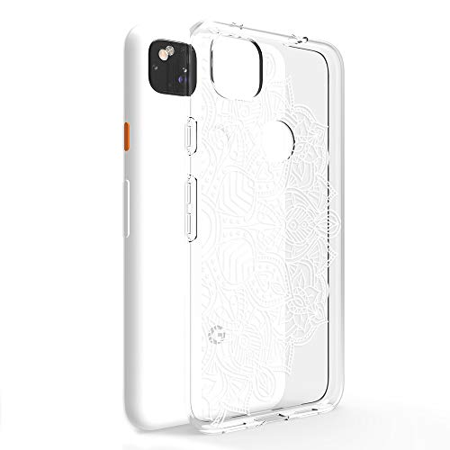 CasesByLorraine Compatible with Google Pixel 4a Case [Not Compatible with Pixel 4a 5G], White Mandala Henna Pattern Clear Transparent Flexible TPU Soft Gel Protective Cover for Google Pixel 4a (2020) -  CBL-GP4A-A-P78