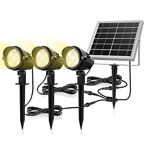 Luces Solares Exteriores MEIKEE 3 en 1 Foco LED 7W, con Panel Solar 6V/3W, Impermeable IP66, Blancas Cálidas 3000K, 450 Lumen Proyector Solar Iluminación al Aire Libre para Patio, Césped, Camino