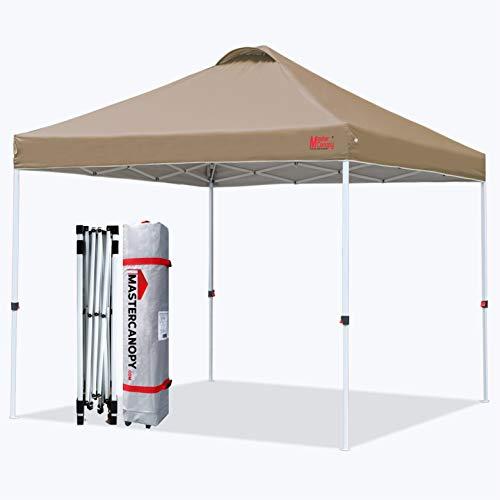 Mastercanopy - Toldo compacto de 10 x 10 Ez plegable instantáneo, mejor toldo de circulación de aire con bolsa con ruedas, 4 bolsas de arena para toldo, 4 estacas para tienda de campaña