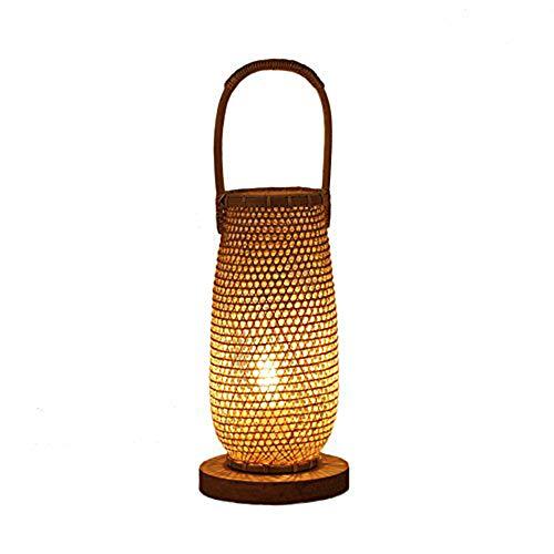 Yilingqi-1 vintage bamboe tafellamp, slaapkamer, houten tafellamp, creatief hotelnachtlampje, thuis, decoratieve verlichting
