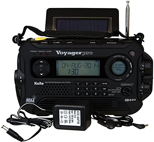 KA600 Black Solar/Crank AM/FM/SW NOAA Weather Radio, Bonus AC Adapter/Charger, 5-LED Reading lamp, 3-LED Flashlight, Thermometer & Humidity Meter (Kaito)