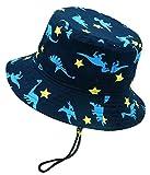 Happy Cherry - Sombrero Pescador para Niños Bebé 1-2 Años Primavera Verano Infantil Gorra de Estampado de Dinosaurio Bucket Hat Protectora del Sol para Playa Viajes Algodón - Azul Oscuro - 50cm