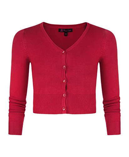 LOTMART Mädchen Langärmelig Bauchfreie Strickjacke Kinder V-ausschnitt Feinstrick Pullover Top - Synthetisch, Rot, 20% nylon 80% viskose, Mädchen, 110-116/5-6 Jahre