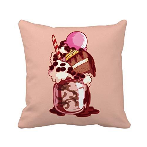 DIYthinker Biscuit Gâteau crème glacée au Chocolat crème carrée Coussin Oreiller de Insert Cover Accueil Canapé Décor Cadeau 40 X 40Cm Multicolore