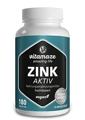 Zinc 25 mg Tabletas Vegano de Bisglicinato de Zinc Elemental, 180 Pastillas durante 1 Año, Altamente Biodisponible, Pura Suplemento Alimenticio sin Aditivos Innecesarios, Calidad Alemana