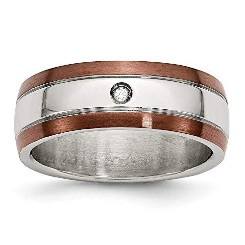 Acero inoxidable chapado IP Chocolate diamante en bruto con 8 mm de tamaño de anillo - P 1/2 - JewelryWeb