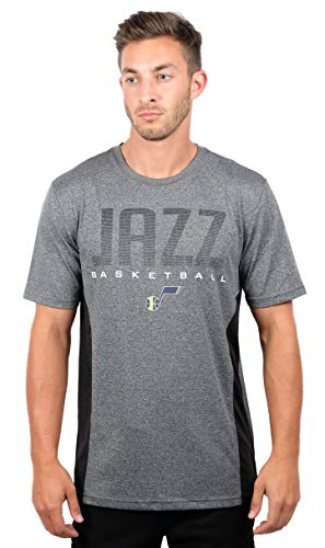 Ultra Game NBA Utah Jazz Mens Active Tee Shirt, Charcoal Heather, Small