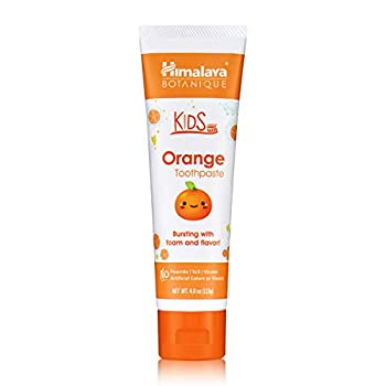 Himalaya Botanique Kids Toothpaste Orange Flavor to Reduce Plaque and Keep Kids Brushing Longer 4 oz