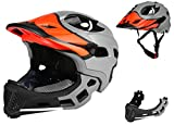 BMX Casco Infantil Integral para Ciclismo Enduro. Totalmente Ajustable con Mentoner Desmontable. Tamaño Ajustable Entre 48-58 cm (Gris-Pato, 52-56cm)