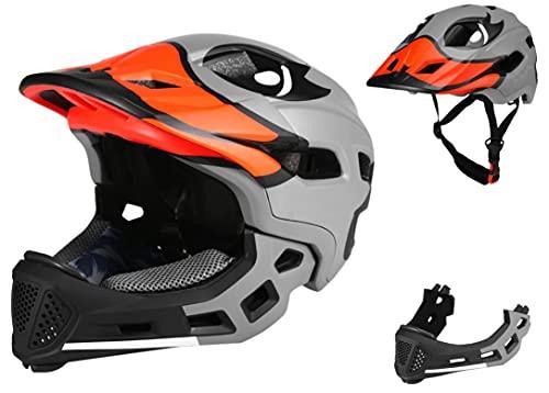 BMX Casco Infantil Integral para Ciclismo Enduro. Totalmente Ajustable con Mentoner Desmontable. Tamañ