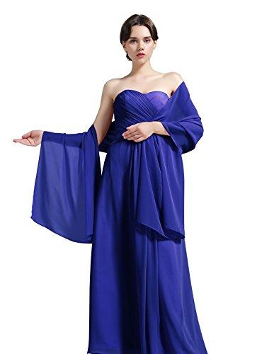 BEAUTELICATE Damenschal aus Chiffon, für Brautjungfern Hochzeit Party Abendkleid, Shawl-01-Ivory, Elfenbein, - Königsblau - Gr. Königsblau