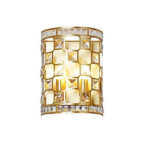 Luz de la pared europea Moderna lámpara de pared de cristal simple E14 Socket Golden Matte Matte Soporte de metal Luz de pared Doble cabeza Cristal Aplique Romántico decorativo accesorio para comedor