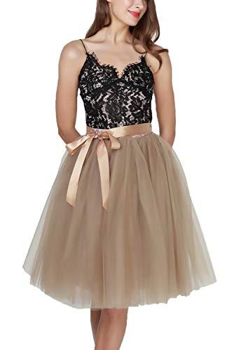 Damenrock Tüllrock Tutu Karneval Elasthan Band Petticoat Tanzkleid Unterkleid für Rockabilly Kleid Nackter Kaffee