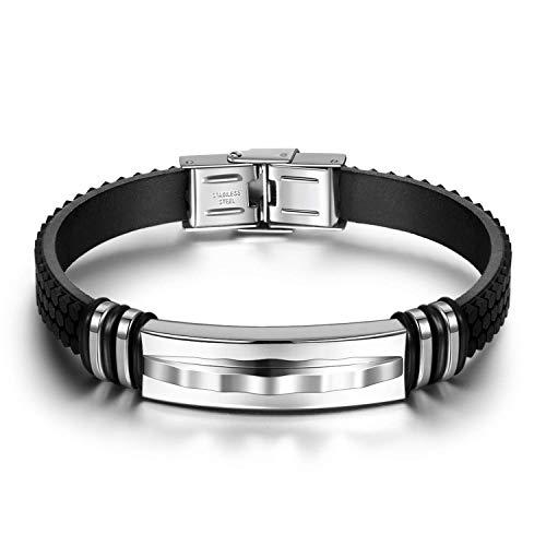 Notting Hill Highlight Herren Armband Silica Gel Handgelenk Armbänder Armreifen für Herren Titan Stahl Verschluss Armband Herren Geschenk Schmuck Geschenkbox Verpackt