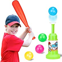 T-Ball Set Toy Automatic Baseball Launcher with 4 Balls &1 Power Bat Ball Toddler Toys Game Set Kids Christmas Birthday Playing Gifts for 3 4 5 6 7 8 Year Old Boys Girls