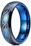 THREE KEYS JEWELRY Men Wedding Bands 6mm Blue Tungsten Laser Celtic Knot Viking Carbide Ring With...