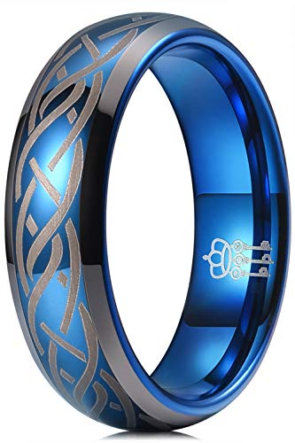 THREE KEYS JEWELRY Mens Charming Jewelry Laser Celtic Knot Tungsten 6mm Wedding Carbide Blue Ring Band for Men Engagement Size 5