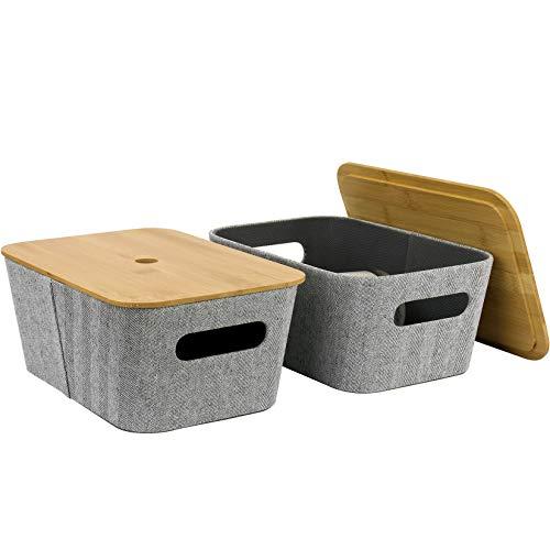 LA JOLIE MUSE Mid-Century Modern Light Gray Tweed Fabric Storage Basket Set of 2 for Cube Shelf Closet Bookcase Drawer Cabinet, Multipurpose Organizer Bin with Bamboo Lid