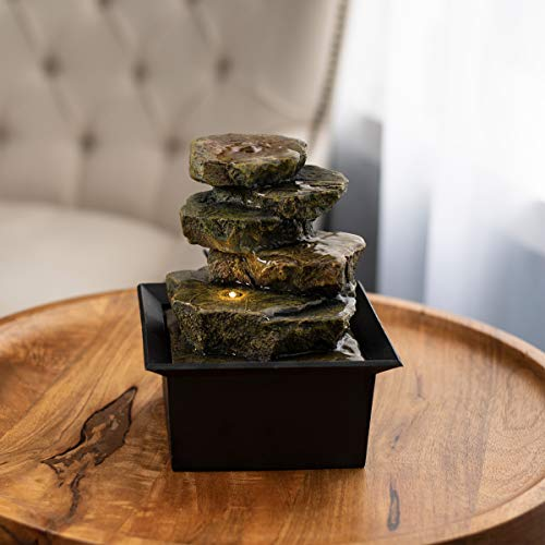 "Pure Garden 50-LG5063 Tabletop Water Fountain-8"" Cascading Rock Formation Waterfall with LED Light, Electric Pump & Soothing Sounds for Office & Home Décor"