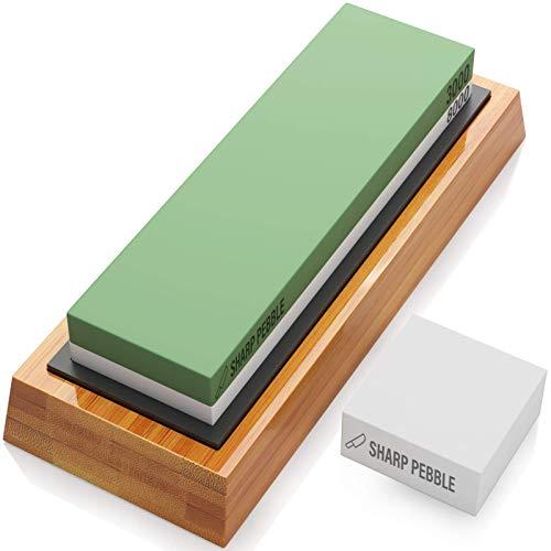 Sharp Pebble Premium Sharpening Stones 2 Side Grit 3000/8000 Whetstone - Kitchen Knife Sharpener Waterstone with Non-Slip Bamboo Base & Flattening Stone