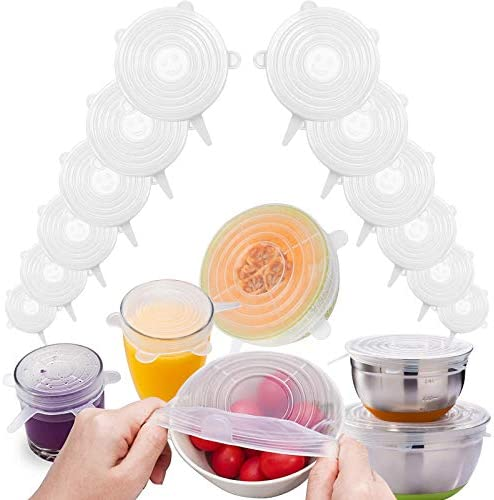 12 Pack Silicone Stretch Lids Reusable Bowl Cover Silicone Elastic Cover Seal Lids For Food product image