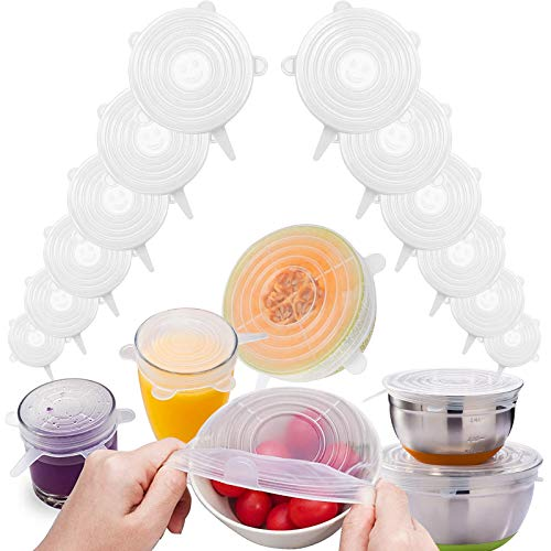 12 Pack Silicone Stretch Lids Reusable Bowl Cover - Silicone Elastic Cover Seal Lids For Food Storage - Silicone Bowl Covers Silicone Fruit Saver Wrap Keep Food Fresh Safe In Dishwasher Microwave