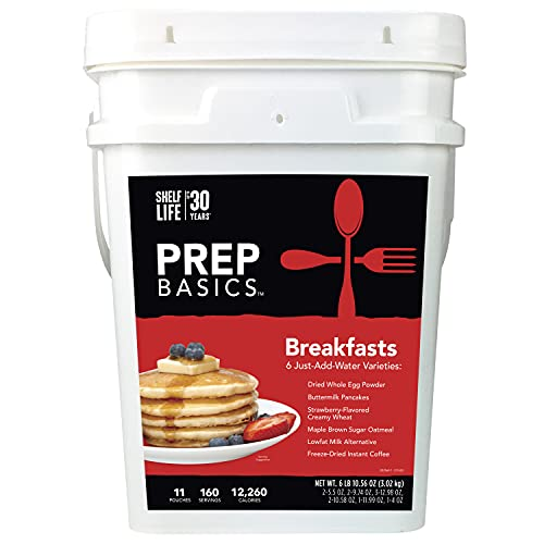 Prep Basics Breakfast Variety | Emergency Food Supply | 12,260 Total Calories | 404 Total Grams Protein | Up to 30 Year Shelf Life