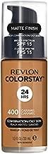 Revlon ColorStay Liquid Foundation Makeup for Combination/Oily Skin SPF 15, Longwear Medium-Full Coverage with Matte Finish, Caramel (400), 1.0 oz