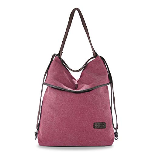 JOSEKO Canvas Tasche Segeltuch Schultertasche Damen Rucksack Handtasche Vintage Damen Umhängentasche für Reise Outdoor Schule Einkauf Alltag Büro (Rot)
