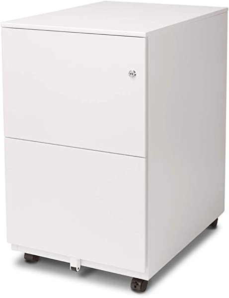 Aurora FC 102WT Modern Soho Design 2 Drawer Metal Mobile File Cabinet With Lock Key Fully Assembled White
