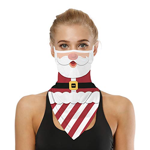 SRVOKOX Funny Christmas Santa Claus Belt Neck Gaiter Face Mask Covering Bandanas for Men Women Summer UV Cooling Face Scarf Mask Cover Ear Loop Hole Triangle Facemask Headbands for Fishing Running