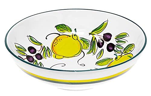 Lashuma Keramikschüssel groß Ø 25 cm, Servierschale Motiv: Zitrone Olive, Obstschüssel rund