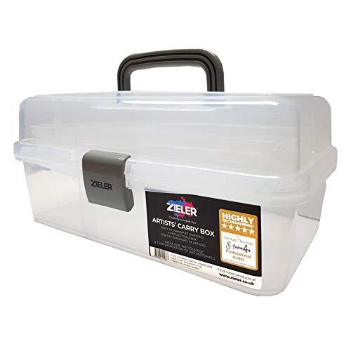 Caja de transporte para artistas (blanco translúcido), ideal para almacenar pinturas, lápices, pinturas, pasteles y accesorios de costura y manualidades